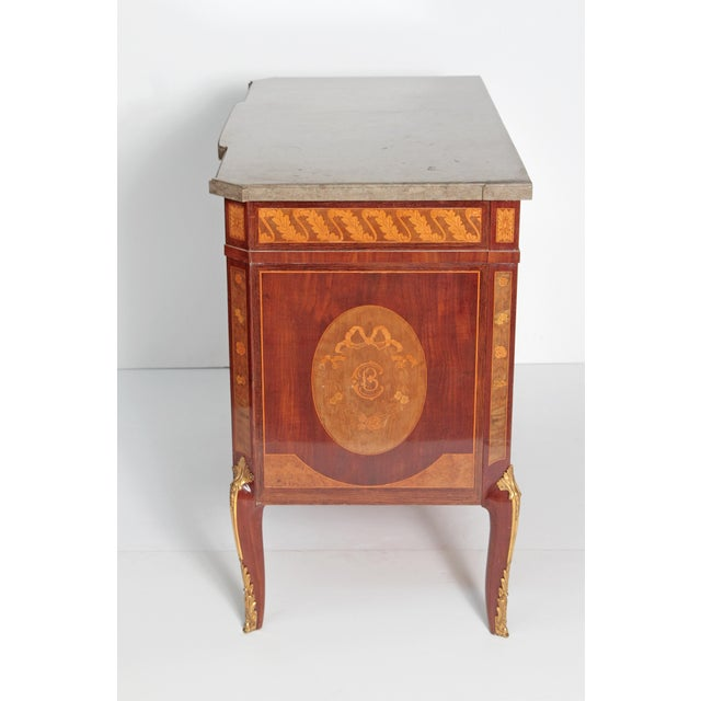 French Ormolu Mounted Fruitwood Chest With Shaped Marble Top - Image 4 of 10