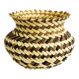 Vintage Woven Basket Vase - Brown, Tan, and Black For Sale