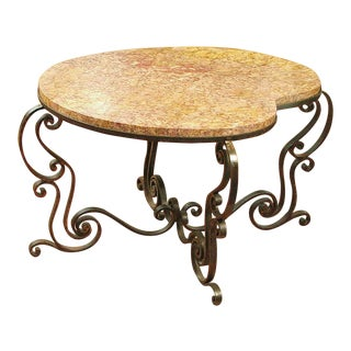 1930s Art Deco Marble-Topped Wrought Iron Center Table For Sale
