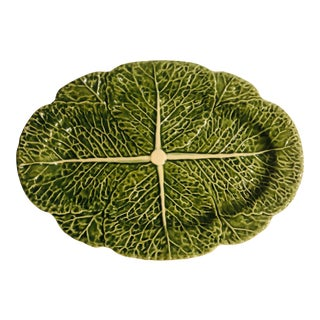 Oval Cabbage Bordallo Pinherio Platter For Sale