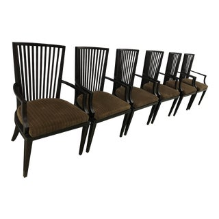 Baker Furniture Slat Back Armed Dining Chairs - Set of 6