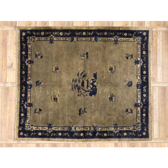 Camel Early 20th Century Antique Chinese Peking Rug With Pagoda Design 08'03 X 09'07 For Sale - Image 8 of 10