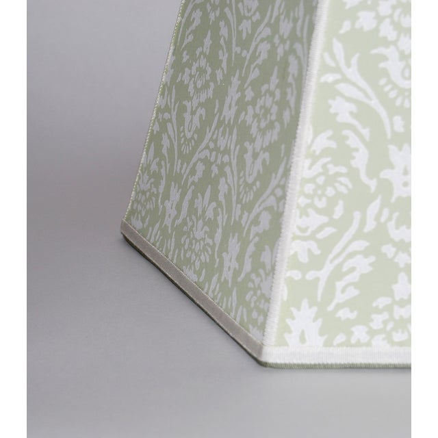 Vintage Green Wallpaper Lampshades - A Pair - Image 4 of 4
