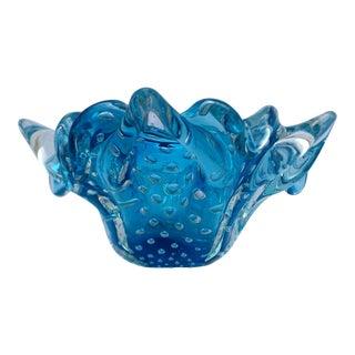 1950s Vintage Seguso Murano Italian Ice Blue Glass Bowl For Sale