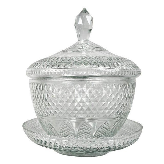 Traditional Anglo Irish Cut-Glass Covered Tureen and Underplate For Sale - Image 3 of 10