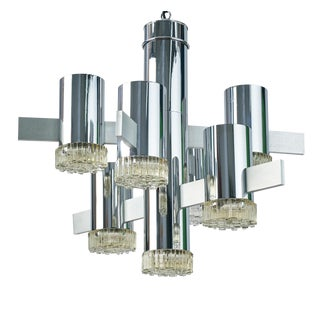 Chrome & Glass Chandelier by Gaetano Sciolari For Sale