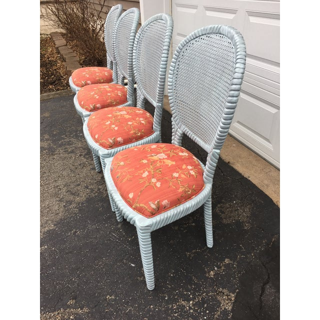 1970s Vintage Hollywood Regency Carved Rope Chairs - Set of 4 For Sale - Image 4 of 12