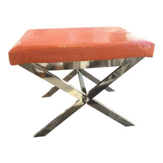 Contemporary Orange Upholstered Chrome X-Base Stool For Sale
