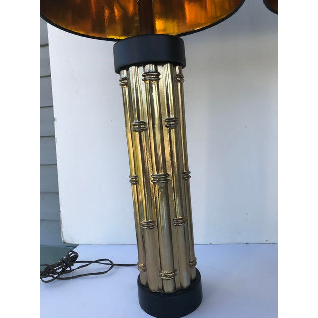 "Pair heavy quality faux bamboo metal lamps with black gold-foil lined shades (10"" h x 12"" across top, 14"" across bottom)...."