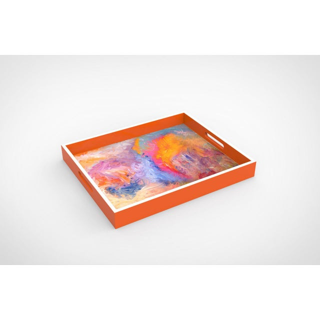 """Beautiful colorful lacquer tray featured Artist Bruce Mishell titled """"The Other Side"""" 16L""""x13W""""x2H"""""""
