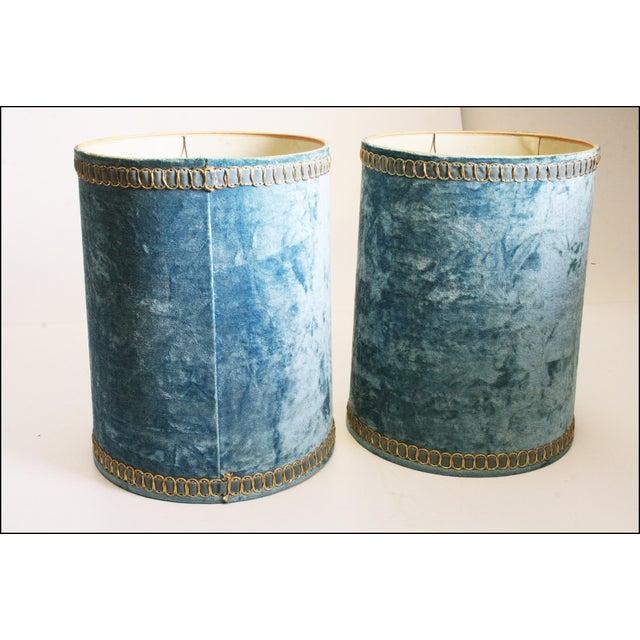 Vintage Hollywood Regency Blue Crushed Velvet Lamp Shades - A Pair - Image 6 of 10