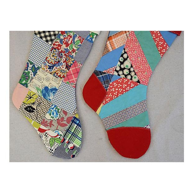 "Large Custom 22"" Tailored Patchwork Quilt Christmas Stockings - Pair - Image 5 of 7"