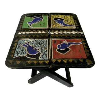 Ghana Beaded Brass & Shell Inlaid Folding Table For Sale