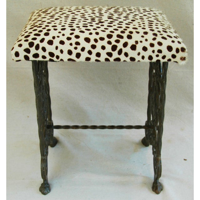 1930s Iron & Cheetah Spotted Cowhide Bench - Image 3 of 11