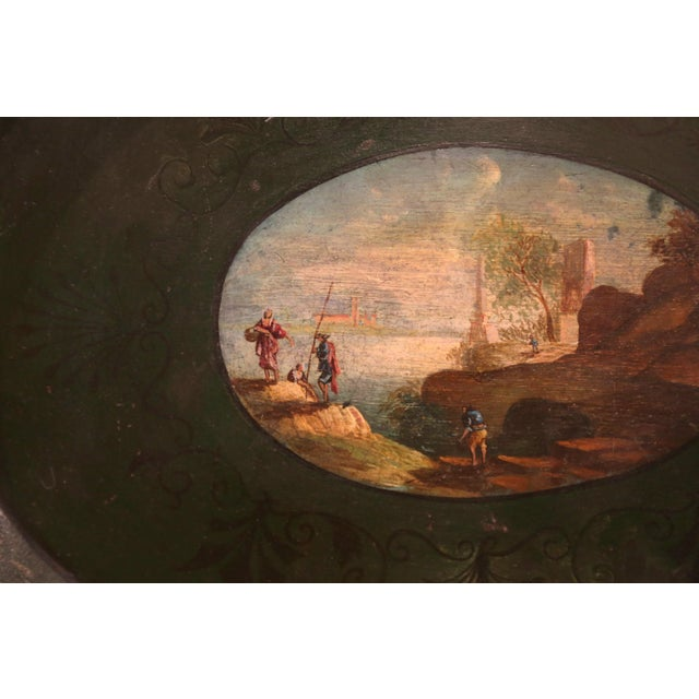 19th Century French Napoleon III Hand-Painted Tole Tray With Coastline and Cliff For Sale In Dallas - Image 6 of 9