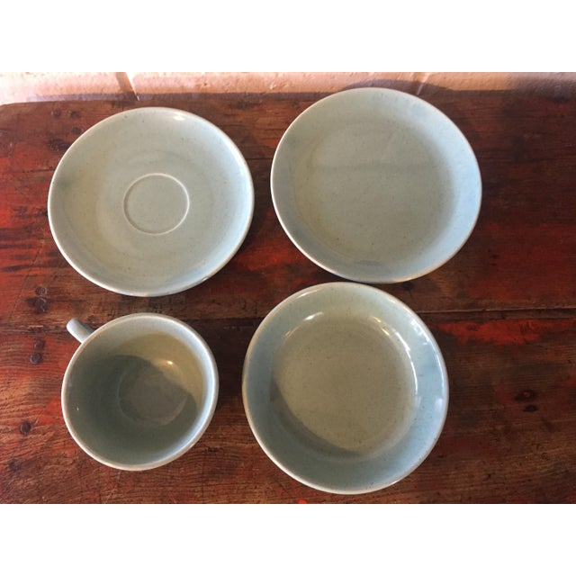 Minimalism Mid-Century Pottery Aqua Speckled Dishes - Set of 4 For Sale - Image 3 of 5