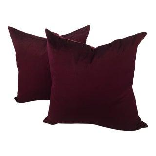 Deep Rich Burgundy Velvet Pillows - A Pair For Sale