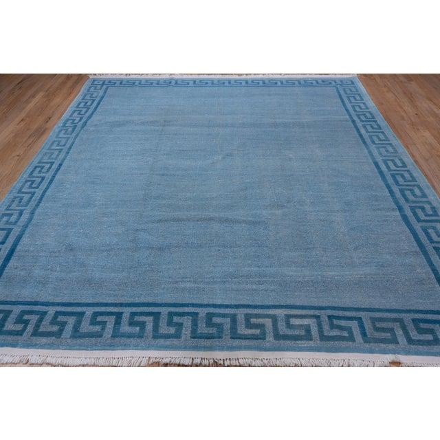 1960s Vintage Indian Dhurrie Blue Rug For Sale - Image 4 of 8