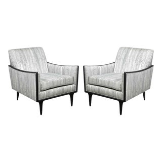 Mid-Century Ebonized Walnut and Platinum Silk Blend Fabric Armchairs - A Pair For Sale