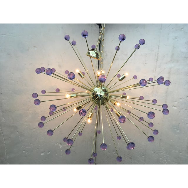 Mid-Century Modern Murano Glass Sputnik Metal Frame Gold Chandelier For Sale - Image 3 of 10