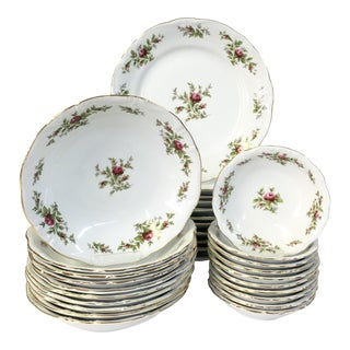 "Vintage Johann Haviland ""Moss Rose"" Porcelain Dinnerware S/31 For Sale"