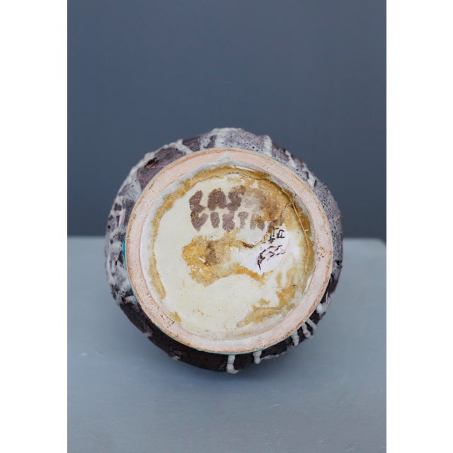 Ceramic Italian Ceramic Vase MidCentury Enamelled by c.a.s. Vietri, Italy, 1950s For Sale - Image 7 of 8
