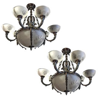 Nine-Light Crystal and Bronze Domed Chandelier Depicting Gargoyle - A Pair For Sale