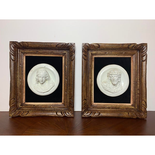 19th Century Glazed Chalkware Wall Mounting High Relief Bust Cameos - a Pair For Sale - Image 13 of 13