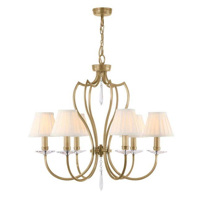 Pimlico 6lt Chandelier Aged Brass is made using fine square tubing dramatically curved on its edge. It also features fine...