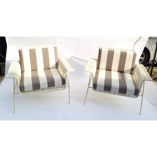 White Metal Outdoor Armchairs - Pair - Image 2 of 5