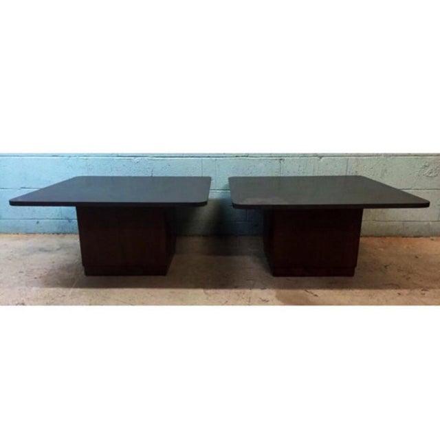 Vintage Slate & Walnut Coffee Tables - A Pair - Image 4 of 5