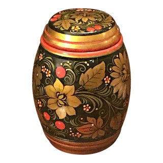 1970s Vintage USSR Russian Khokhloma Canister For Sale