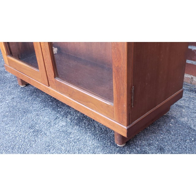 Wood Very Nice 1930s Walnut Double Glass Door Hallway Bookcase Cabinet For Sale - Image 7 of 9