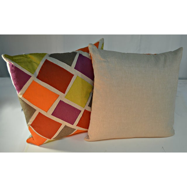 Multicolor Inlaid Square Pillows - A Pair For Sale - Image 4 of 5