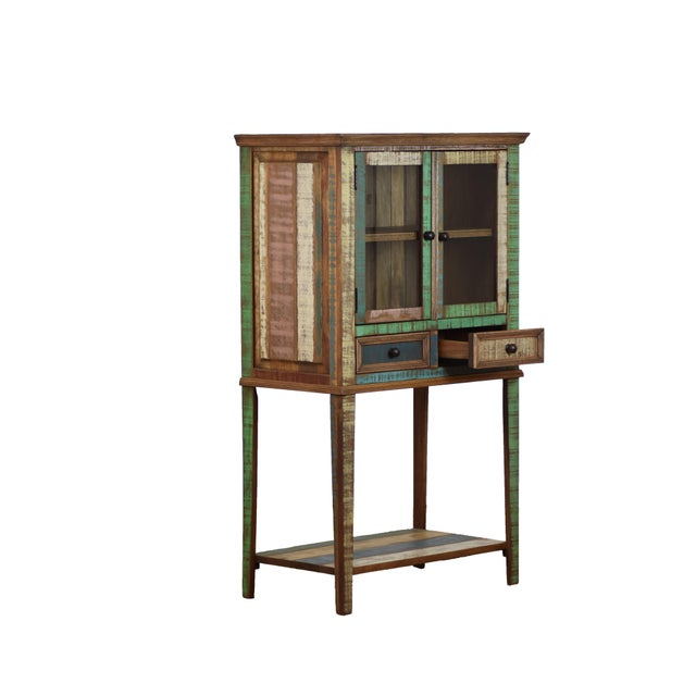 Contemporary design and rustic peroba wood make this display cabinet very unique! It features 2 display shelves behind...