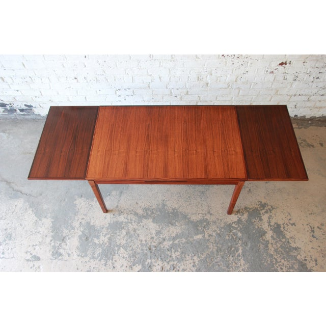 Wood Arne Vodder for Sigh & Sons Danish Modern Rosewood Extension Dining Table For Sale - Image 7 of 10