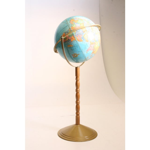 Vintage Revolving World Globe with Wood Pedestal Stand For Sale - Image 4 of 11