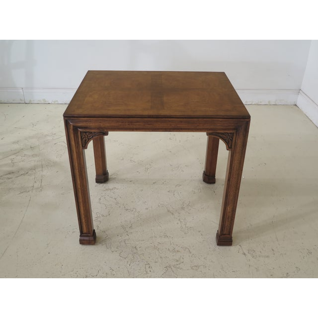Brown 1980s Chippendale Henredon Oak & Walnut End Table For Sale - Image 8 of 8