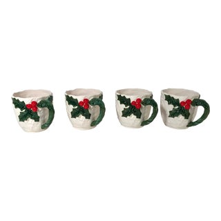 20th Century Americana Lefton Holiday Coffee or Eggnog Mugs - Set of 4 For Sale
