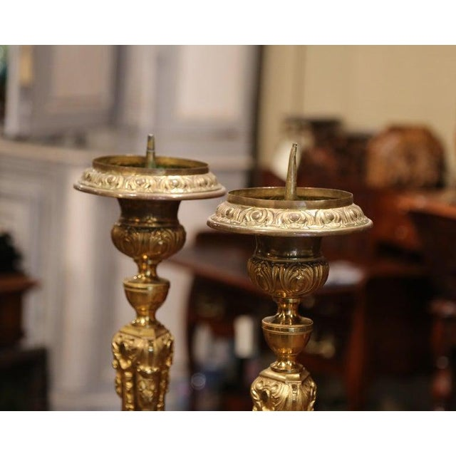 Metal 19th Century French Brass Gilded Repousse Pic-Cierges Candleholders - a Pair For Sale - Image 7 of 8