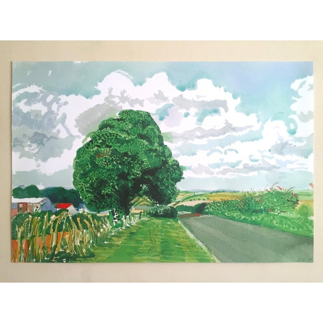 """David Hockney Fine Art Lithograph Print Midsummer : East Yorkshire Series """" Road and Tree Near Wetwang """" 2004 For Sale - Image 11 of 13"""