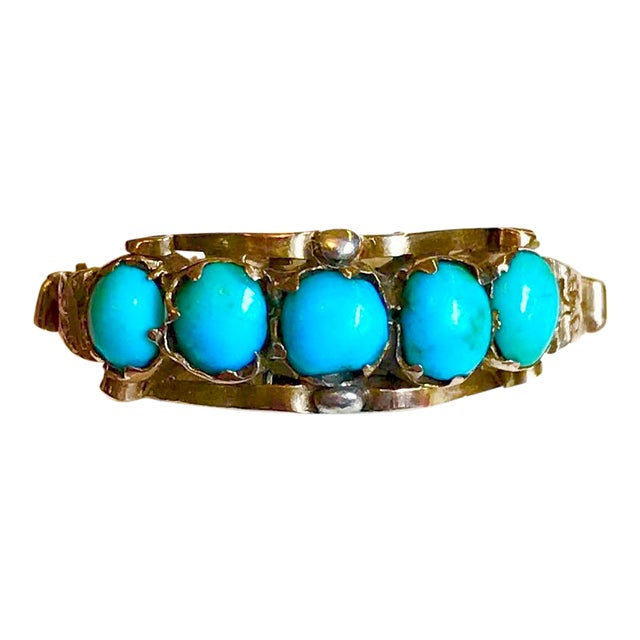 Antique 15k Gold and Turquoise Ring For Sale