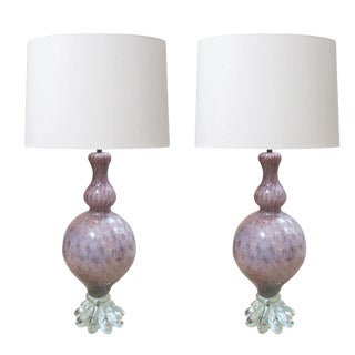 A Pair of Large Murano Archimede Seguso Amethyst Baluster-Form Lamp With Silver Inclusions For Sale