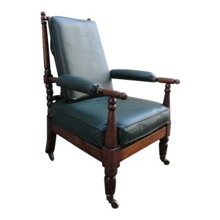 Early 19th Century English Mahogany Bobbin Turned Library Chair with Casters