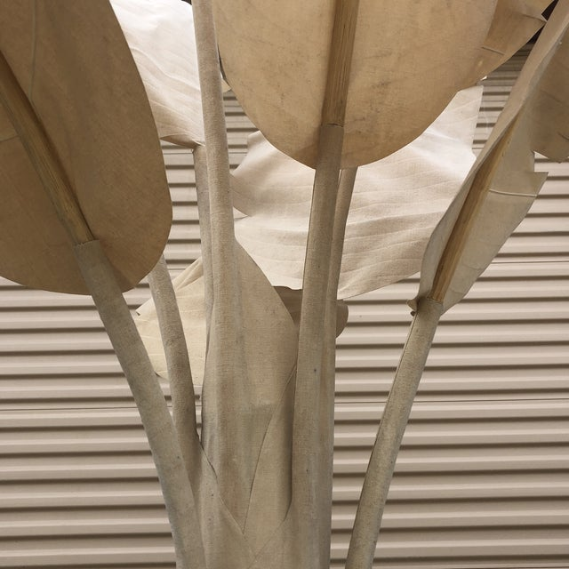 Tan Large Linen Banana Tree With Palm Leaves For Sale - Image 8 of 9