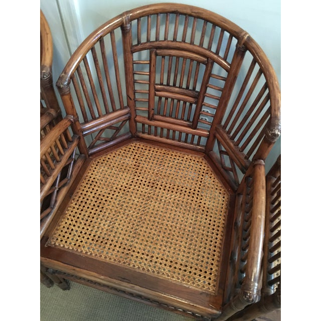 Wicker 1970s Hollywood Regency Brighton Pavilion Style Bamboo Dining Set - 5 Pieces For Sale - Image 7 of 12