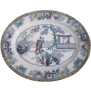 Antique English Chinoiserie Pottery Tray For Sale