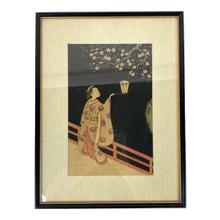 Japanese Ukiyo-E Woman and Cherry Blossoms Framed Woodblock Print by Katsukawa Shun'ei For Sale
