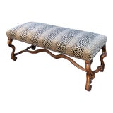Image of Clarence House Cheetah - 18c Style Carved Italian Walnut Bench by Randy Esada Designs for Prospr For Sale