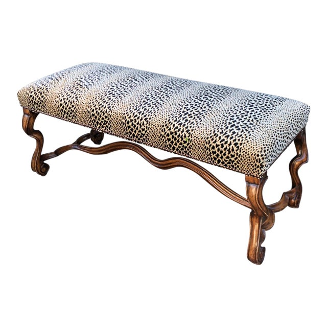 Clarence House Cheetah - 18c Style Carved Italian Walnut Bench by Randy Esada Designs for Prospr For Sale